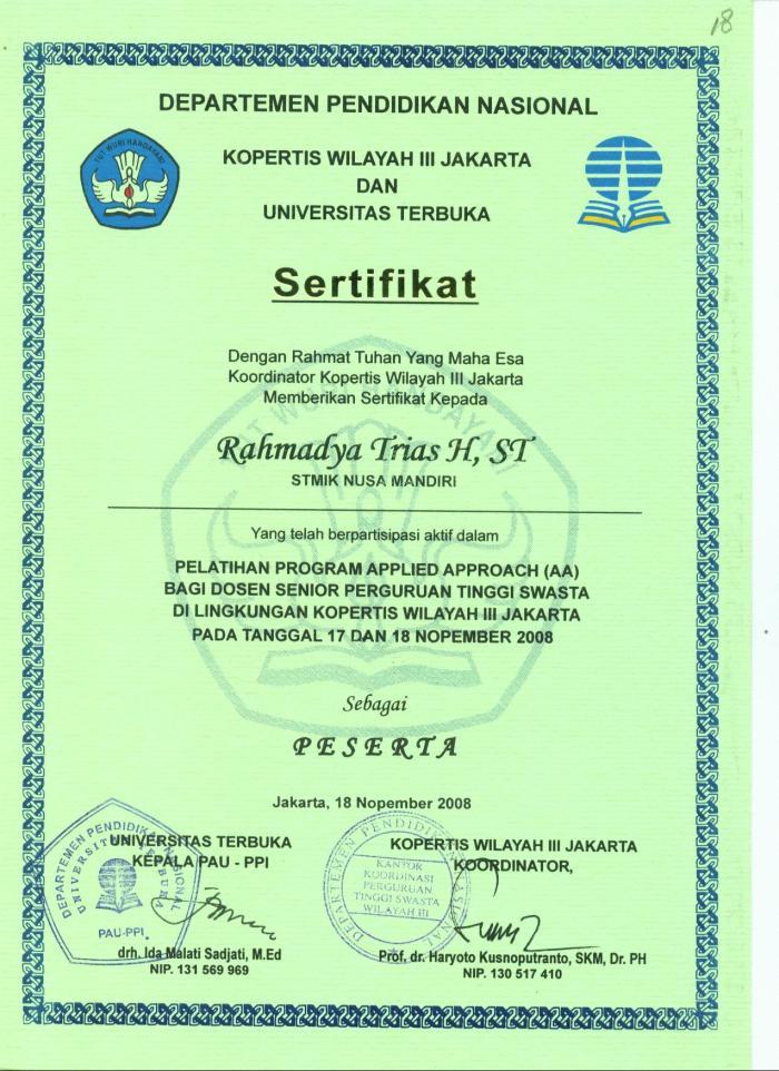 Pelatihan AA di Kopertis Wilayah III Jakarta