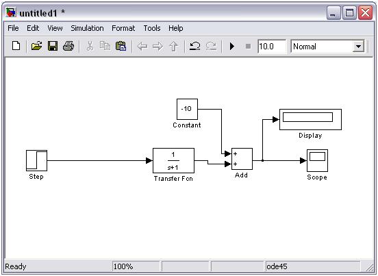 Membuat diagram blok dengan simulink matlab rahmadya trias handayanto perhatikan cara membuatnya sebagai berikut step didrag dari source begitu juga constant display dan scope diambil dari sink sementara add diambil dari ccuart Gallery