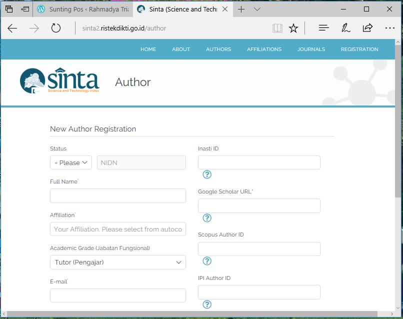 sinta registration